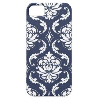 Modelo blanco del damasco de los azules marinos iPhone 5 funda
