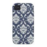 Modelo blanco del damasco de los azules marinos iPhone 4 carcasa