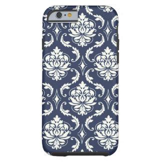 Modelo blanco del damasco de los azules marinos funda de iPhone 6 tough