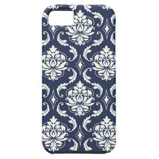 Modelo blanco del damasco de los azules marinos iPhone 5 fundas