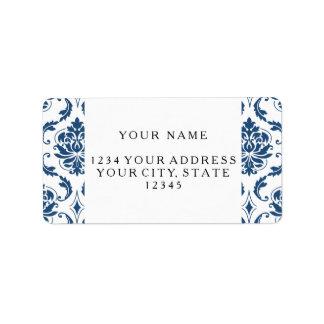 Modelo blanco del damasco del vintage de los etiquetas de dirección