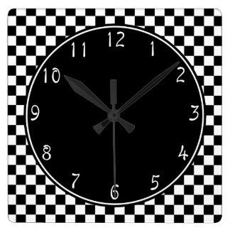 Modelo blanco del tablero de damas del círculo reloj cuadrado