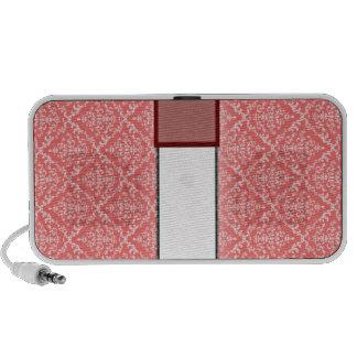 Modelo blanco elegante del damasco en textura roja PC altavoces