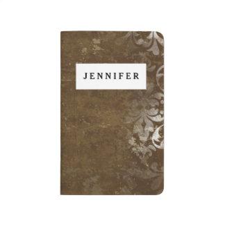 Modelo blanco elegante descolorado del damasco del cuaderno grapado