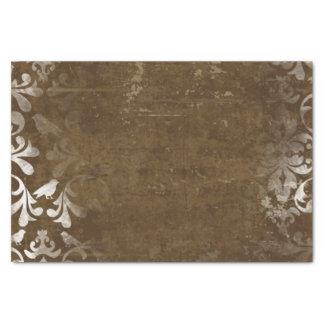 Modelo blanco elegante descolorado del damasco del papel de seda pequeño