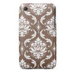 Modelo blanco femenino del damasco de Brown iPhone 3 Case-Mate Protector