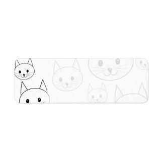 Modelo blanco lindo de los gatos etiqueta de remitente