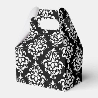 Modelo blanco negro 1 del damasco del vintage caja para regalos de fiestas