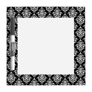 Modelo blanco negro 1 del damasco del vintage pizarras blancas
