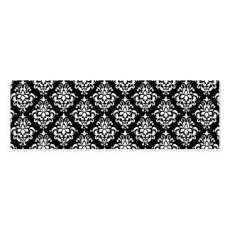 Modelo blanco negro 1 del damasco del vintage tarjetas de visita mini