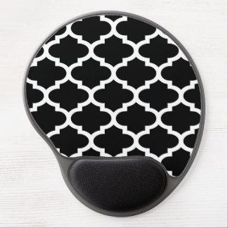 Modelo blanco negro #2 de Quatrefoil Alfombrilla Gel