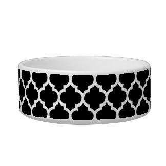 Modelo blanco negro #5 de Quatrefoil del marroquí Tazón Para Comida Gato