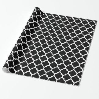 Modelo blanco negro #5 de Quatrefoil del marroquí Papel De Regalo