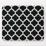 Modelo blanco negro #5 de Quatrefoil del marroquí Tapetes De Ratones