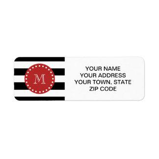 Modelo blanco negro de las rayas, monograma rojo etiqueta de remitente