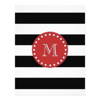 """Modelo blanco negro de las rayas, monograma rojo folleto 8.5"""" x 11"""""""