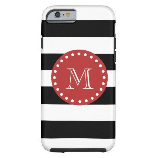Modelo blanco negro de las rayas, monograma rojo funda resistente iPhone 6