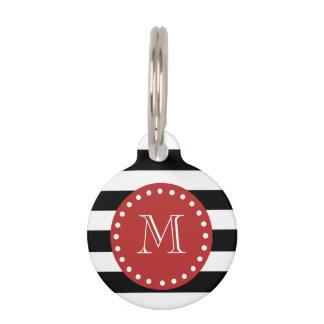 Modelo blanco negro de las rayas, monograma rojo identificador para mascota