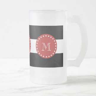 Modelo blanco negro de las rayas, monograma rojo tazas