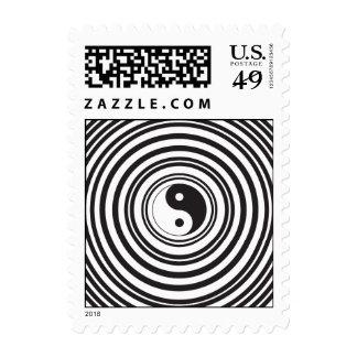 Modelo blanco negro de los círculos concéntricos sellos