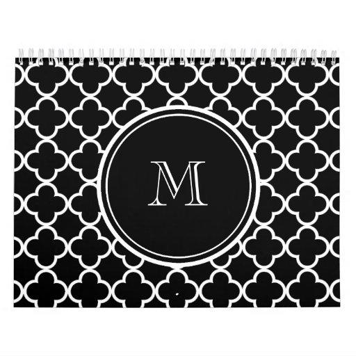Modelo blanco negro de Quatrefoil, su monograma Calendarios De Pared