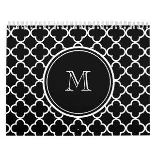 Modelo blanco negro de Quatrefoil, su monograma Calendario De Pared