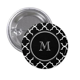 Modelo blanco negro de Quatrefoil su monograma Pins