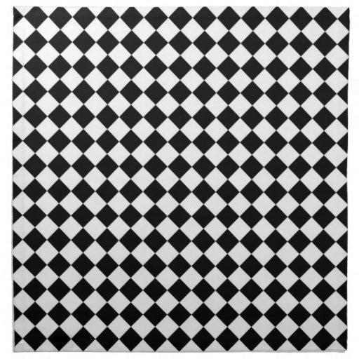 Modelo blanco negro del control del diamante servilleta