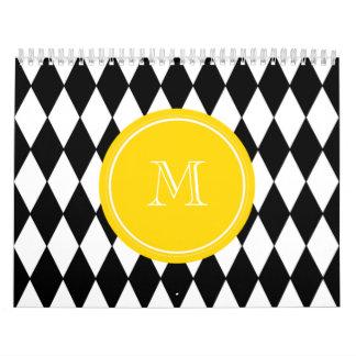 Modelo blanco negro del Harlequin, monograma Calendarios