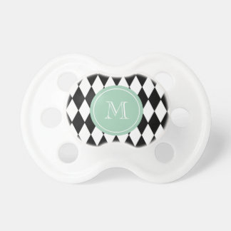 Modelo blanco negro del Harlequin monograma de la Chupetes Para Bebés