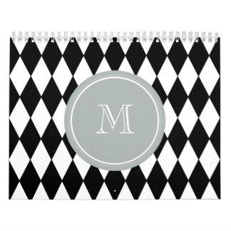Modelo blanco negro del Harlequin, monograma gris Calendarios