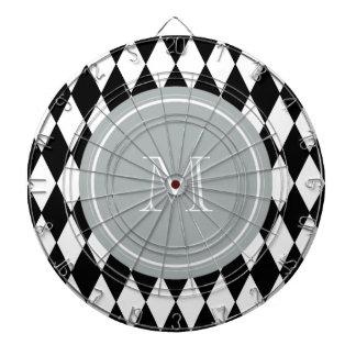 Modelo blanco negro del Harlequin monograma gris