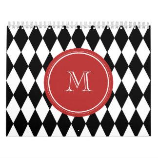 Modelo blanco negro del Harlequin, monograma rojo Calendarios De Pared