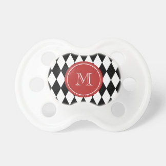 Modelo blanco negro del Harlequin monograma rojo Chupete De Bebé