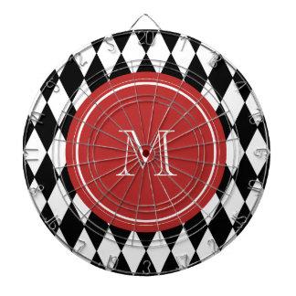 Modelo blanco negro del Harlequin monograma rojo