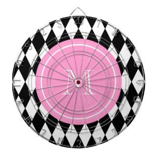 Modelo blanco negro del Harlequin monograma rosad