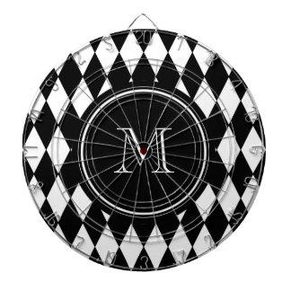Modelo blanco negro del Harlequin su inicial Tablero Dardos