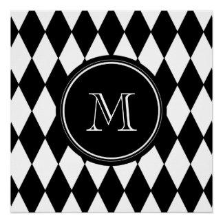 Modelo blanco negro del Harlequin, su inicial Perfect Poster