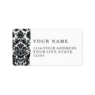 Modelo blanco negro elegante del damasco del etiquetas de dirección