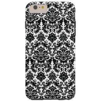 Modelo blanco negro elegante del damasco del funda de iPhone 6 plus tough