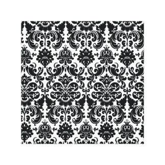 Modelo blanco negro elegante del damasco del impresión en lona estirada