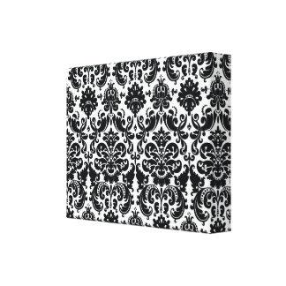Modelo blanco negro elegante del damasco del impresión en lienzo estirada
