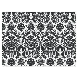 Modelo blanco negro elegante del damasco del papel de seda grande