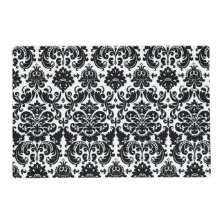 Modelo blanco negro elegante del damasco del tapete individual