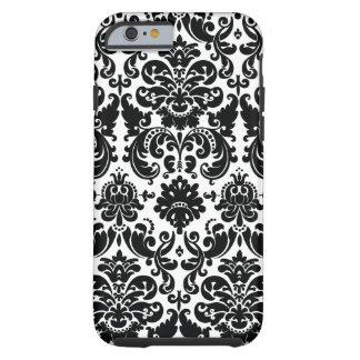 Modelo blanco negro elegante del damasco funda de iPhone 6 tough