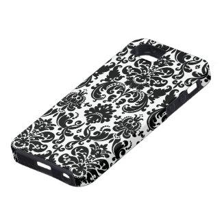 Modelo blanco negro elegante del damasco funda para iPhone SE/5/5s