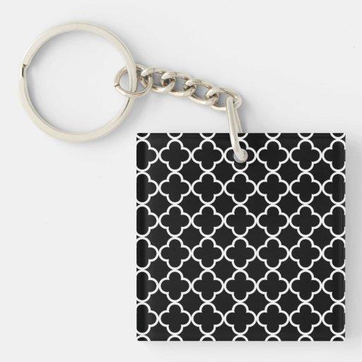 Modelo blanco negro marroquí de Quatrefoil Llaveros