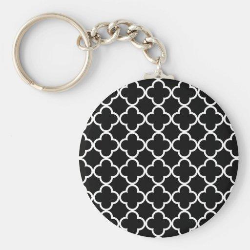 Modelo blanco negro marroquí de Quatrefoil Llavero Personalizado