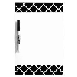 Modelo blanco negro marroquí de Quatrefoil Pizarra Blanca