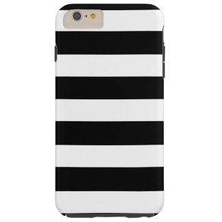 Modelo blanco negro moderno de las rayas funda de iPhone 6 plus tough